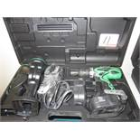 HITACHI 18V BATTERY DRILL, FLASHLIGHT W/ CHARGER, (2) BATTERIES, & CASE