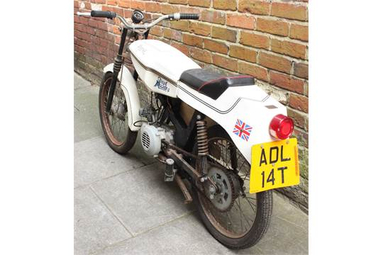 A 1979 Kestrel 50cc sports moped, automatic Minarelli engine, white