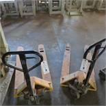 (2) Uline 5500 Lb. Capacity Pallet Jacks (1 Works, 1 For Parts)