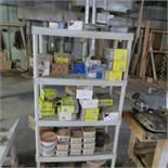 {LOT} 5 Shelves Klingspor Sanding Discs, Elmers Wood Filler, Wire, ETC.