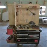 Husky Tool Box with Tools and Custom Made Backstop Shelving