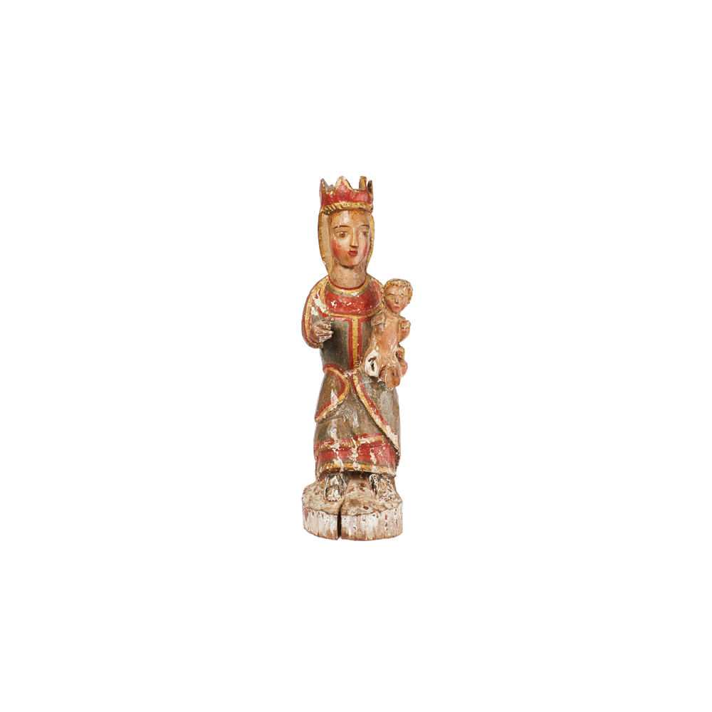 Escuela catalana, s.XIII. Virgen con Niño. Escultura románica en madera tallada y policromada.