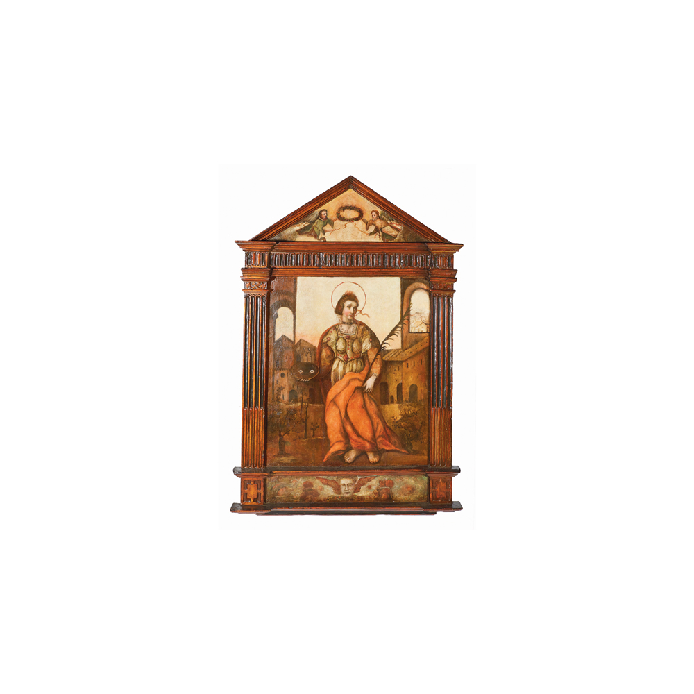 Escuela española, fles. del s.XVI. Santa Lucía. Retablo en madera tallada, policromada y óleo.