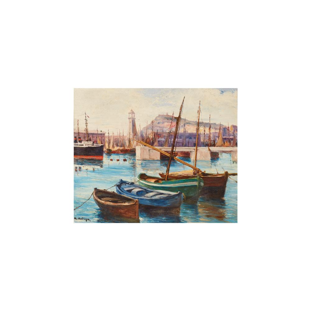 Agustí Antiga. Puerto de Barcelona. Óleo sobre tela.