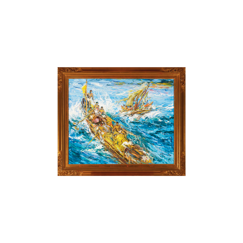 Antonio Reverte. Pescadores a la deriva. Óleo sobre tela.