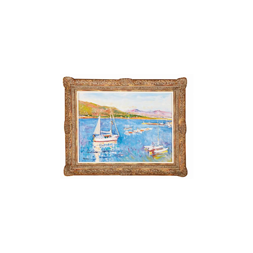 Simó Busom. Vaixell i catamaran. El Port de la Selva. Óleo sobre tela.