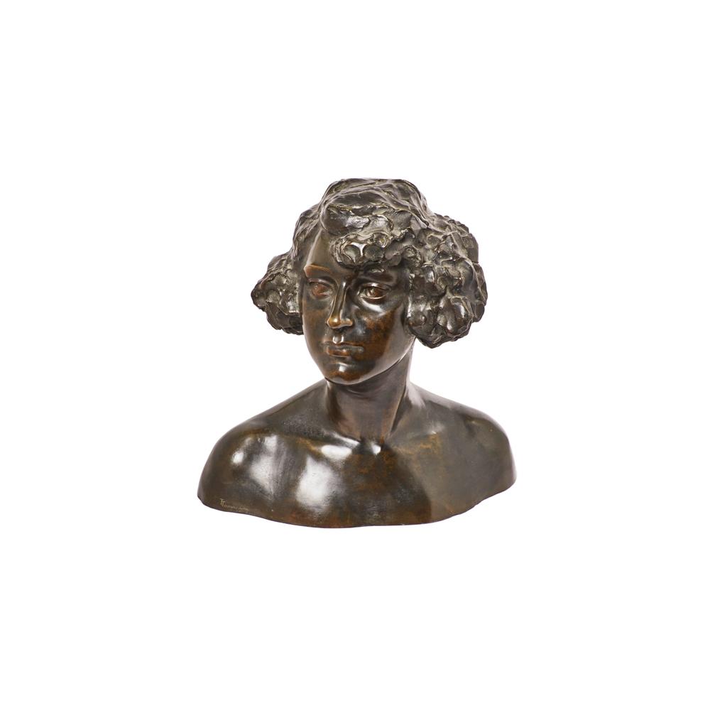 Torquato Tamagnin. Busto masculino. Escultura en bronce.