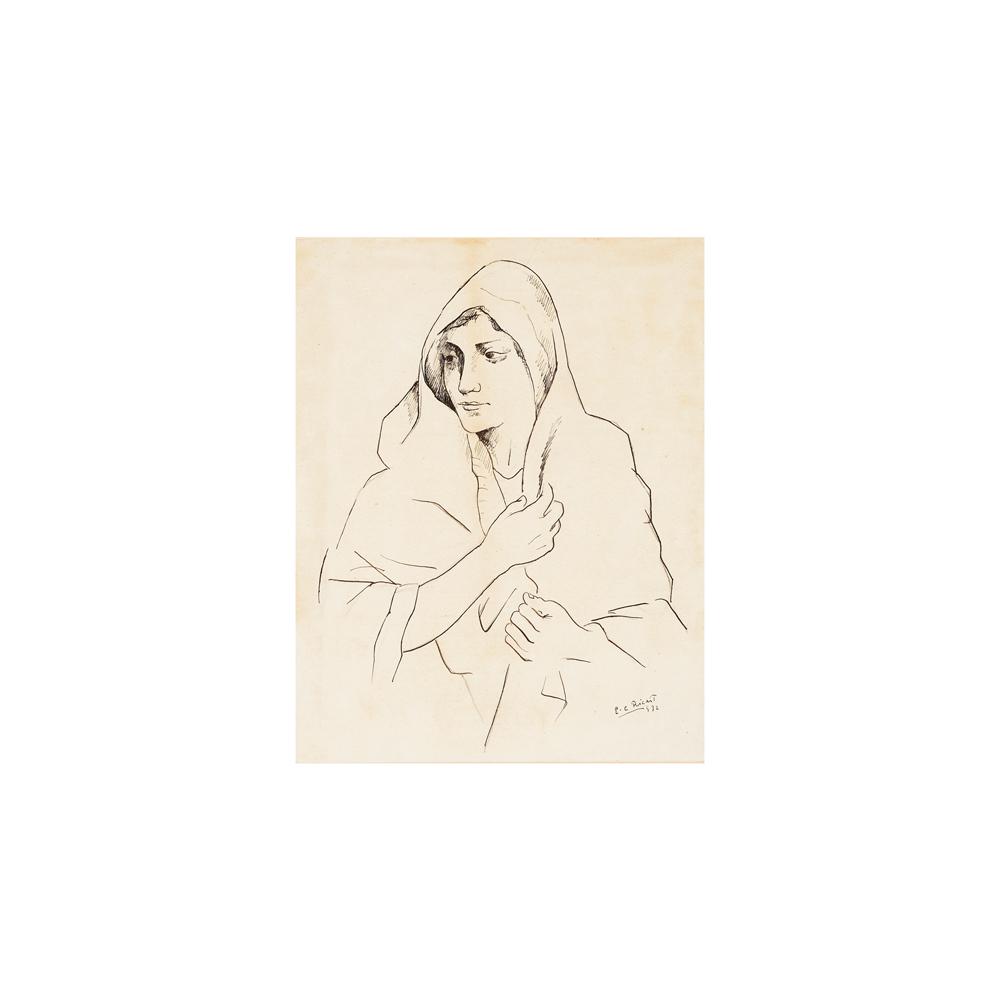 Enric Cristòfor Ricart. Mujer. Dibujo a tinta sobre papel.