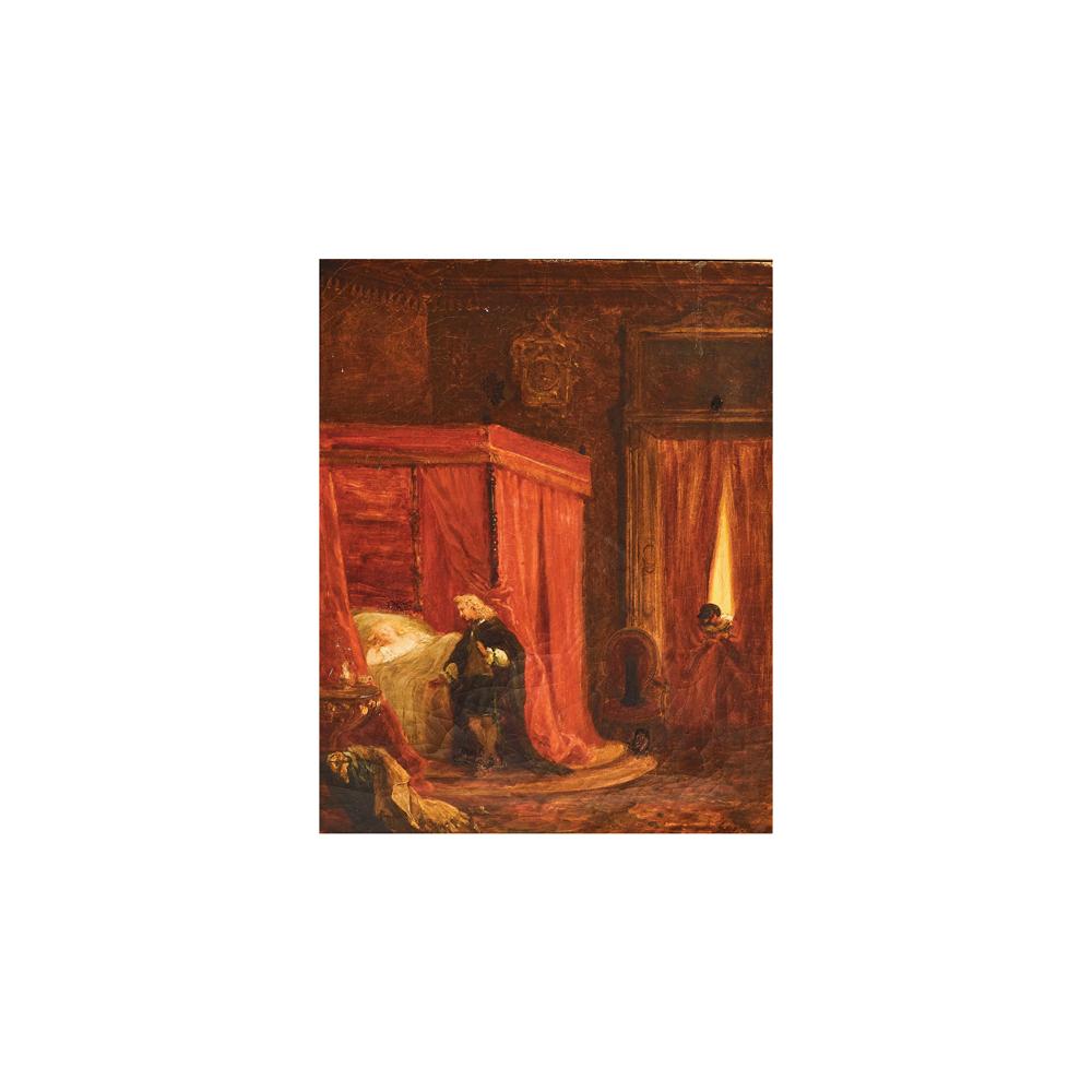 Escuela europea, s.XVIII.Interior de alcoba con figuras. Óleo sobre tela.