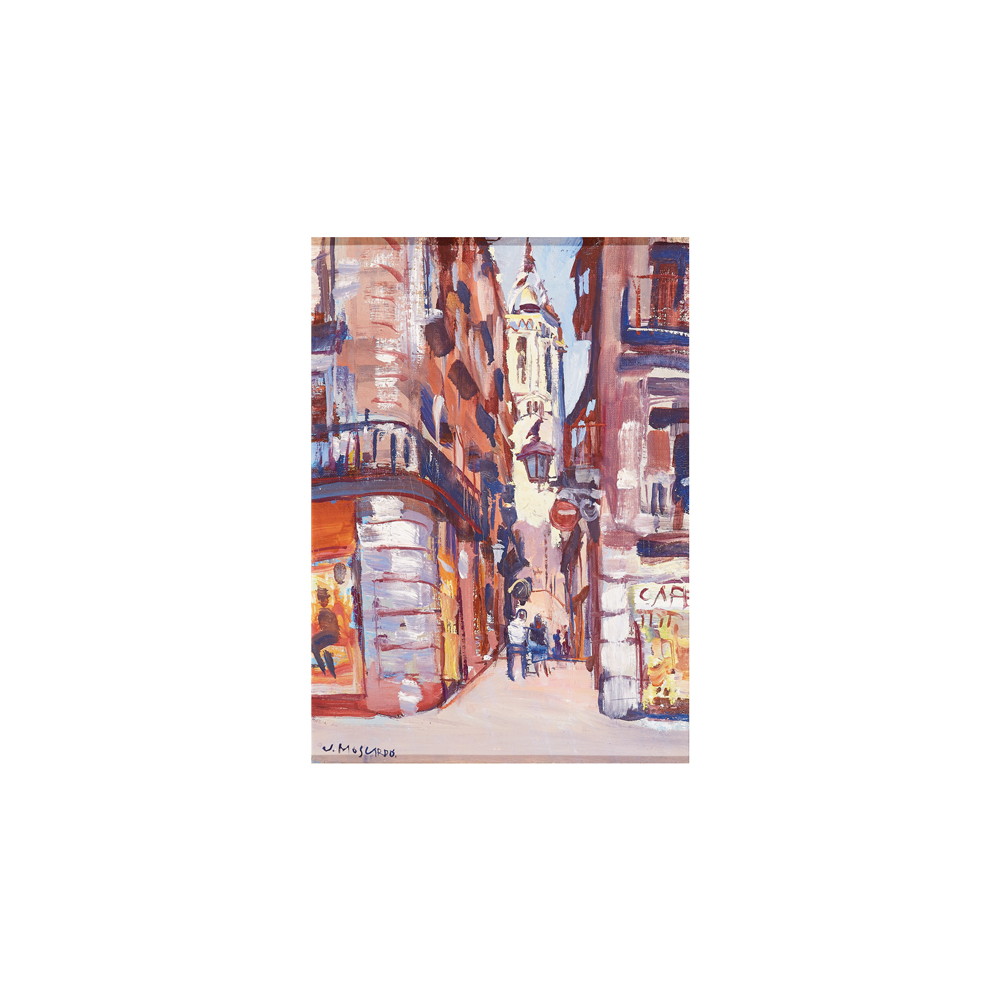 Josep Moscardó. Vista urbana. Barcelona. Óleo sobre tela.