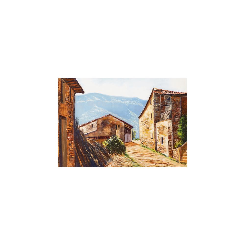 Escuela catalana, s.XX. Paisaje rural. Óleo sobre tela.