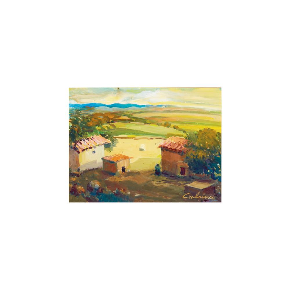 Ramón Calsina. Paisaje rural con figura. Óleo sobre tela.