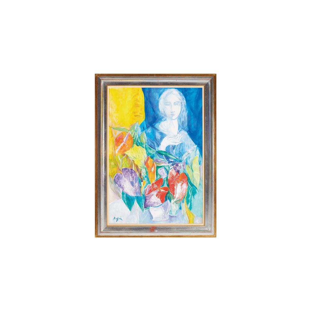 Jordi Rollán. Figura femenina y flores. Óleo sobre tabla.