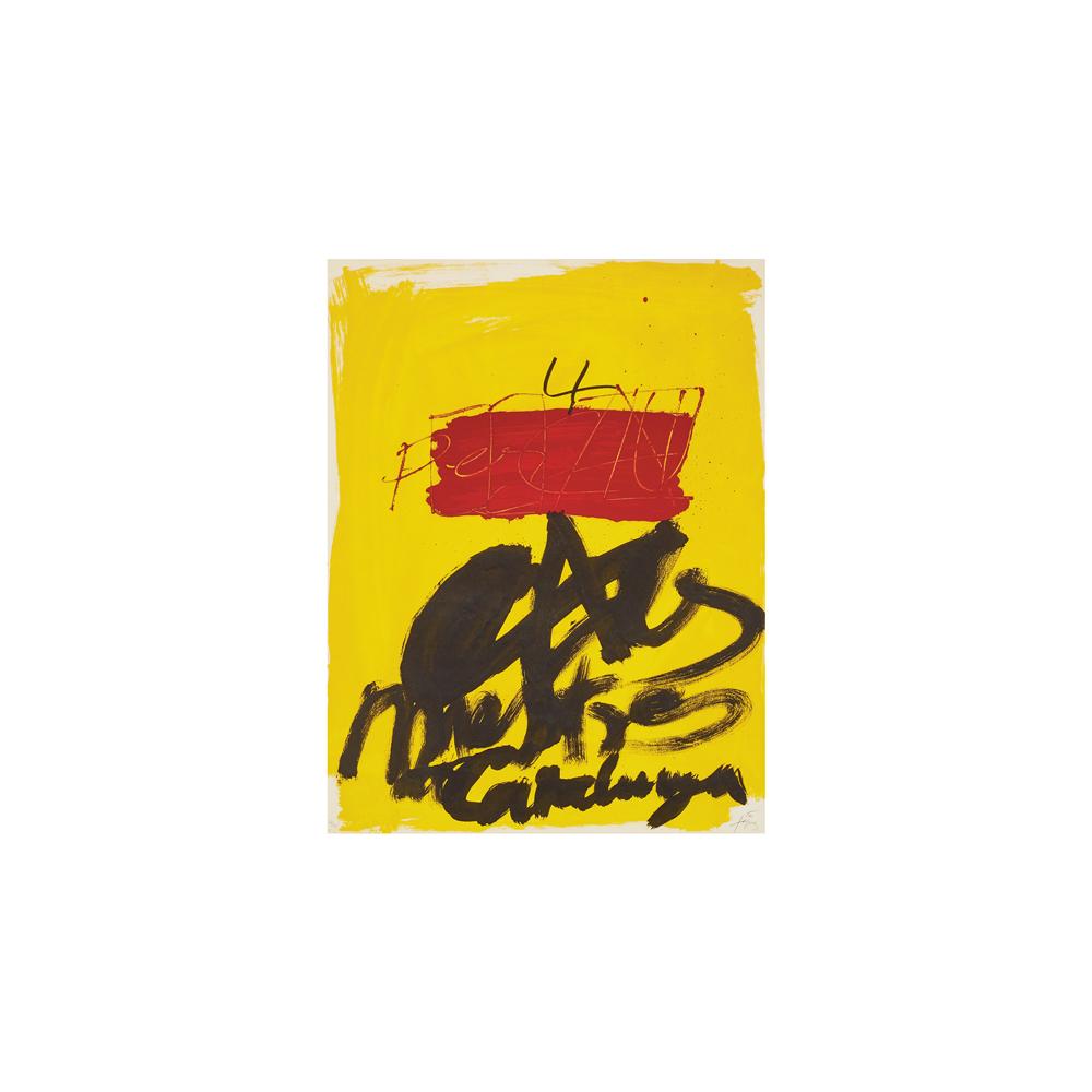 Antoni Tàpies. Als Mestres de Catalunya. Litografía.