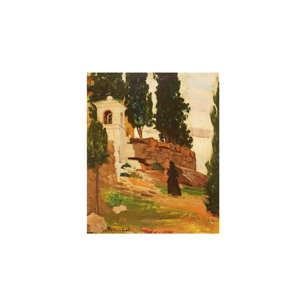 Santiago Rusiñol. Paisaje con ermita y figura en los alrededores de Sitges. Óleo sobre cartón.