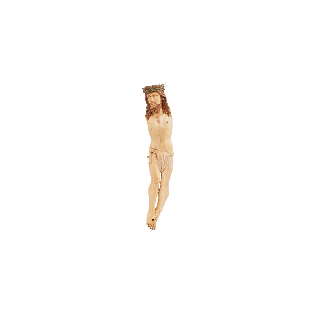 Escuela indo-portuguesa, s.XVII. Cristo crucificado. Escultura en marfil tallado y policromado.