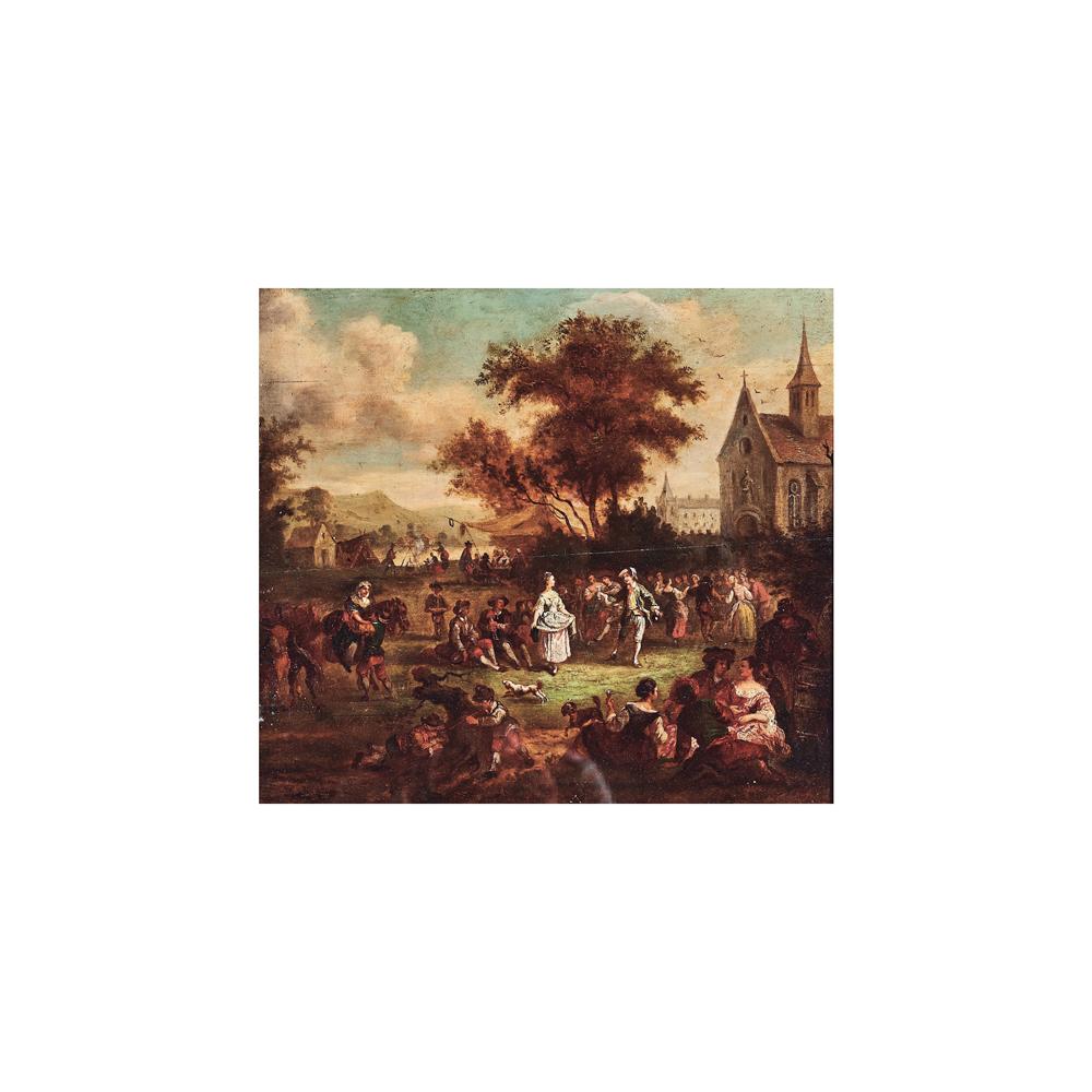 Escuela francesa, s.XVIII. Baile delante de la iglesia. Óleo sobre tabla.