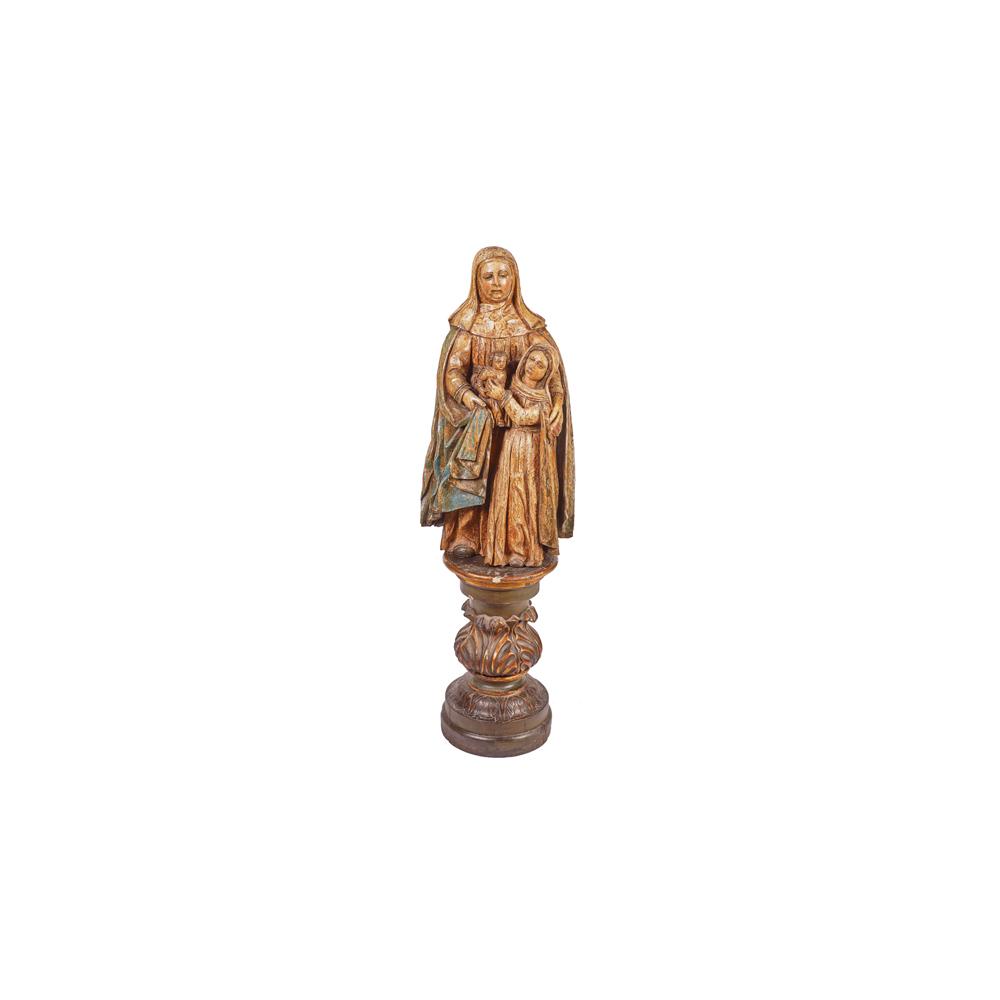 Escuela española, s.XVI. Santa Ana, la Virgen y el Niño. Escultura en madera tallada y policromada.