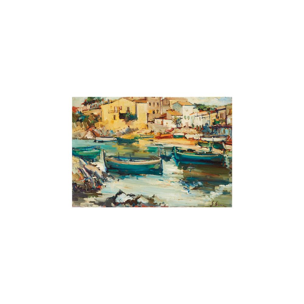 Joan Serra Melgosa. Pueblo costero. Óleo sobre tabla.