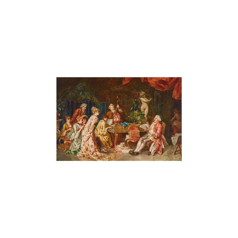 Escuela española, s.XIX. Recital de música. Óleo sobre tabla.
