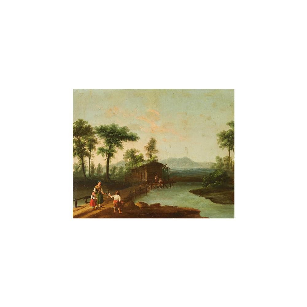Escuela centroeuropea, s.XIX. Paisaje con figuras. Óleo sobre tela.