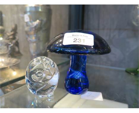 A Wedgwood glass mushroom paperweight together with a vintage glass owl paperweight by Steuben of Portugal, scratched sign to