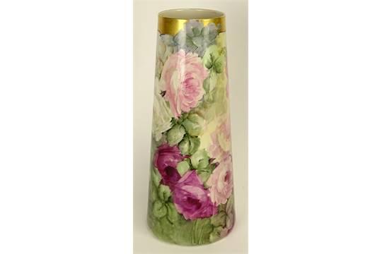 Antique Belleek Willets Porcelain Floral Design Tall Vase Graduated