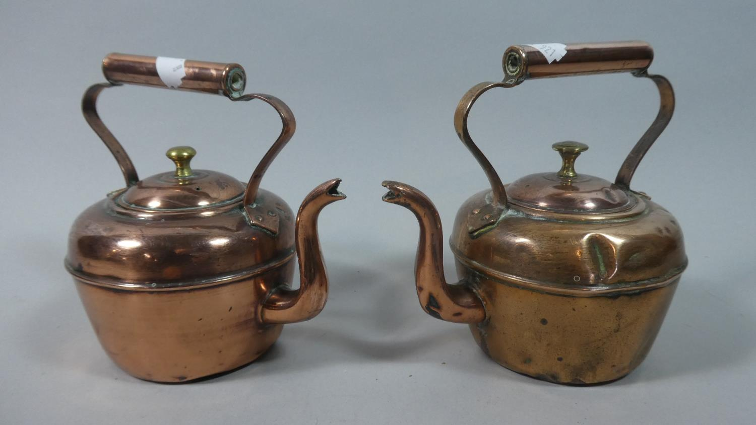 A Near Pair of 19th Century Small Copper Kettles, The Tallest 15cm High