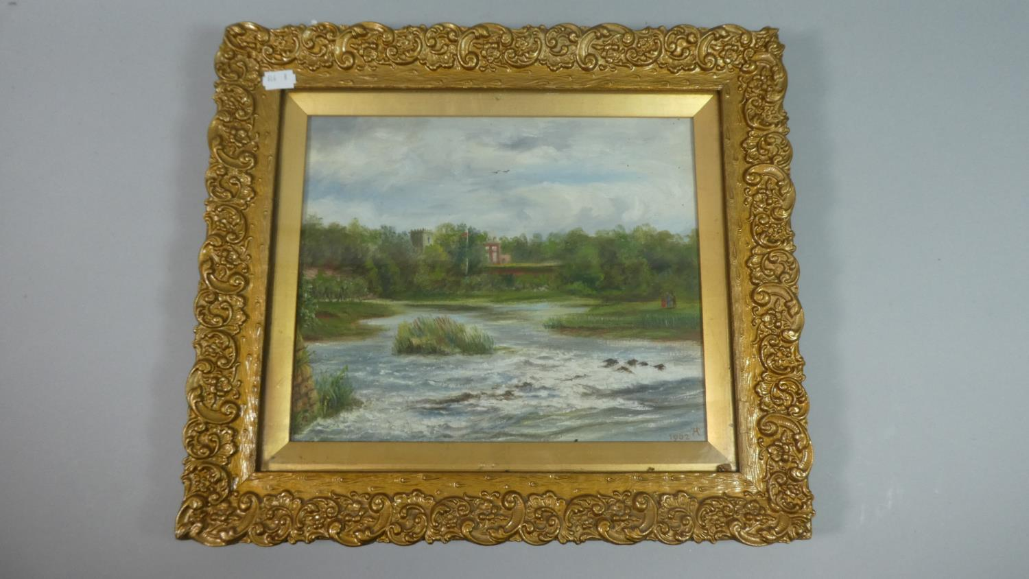 Lot 155 - A Gilt Framed Oil on Board Depicting River in Flood, Dated 1902, 29cm Wide