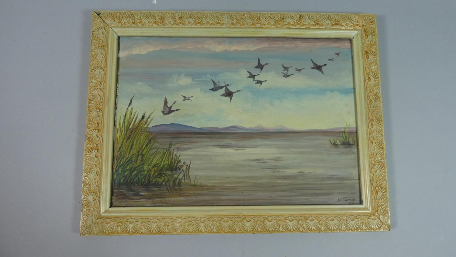 A Framed Oil on Glass Depicting Ducks in Flight, Signed J P Thomas, 1955, 33cm Wide