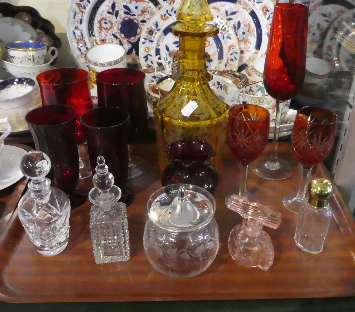 Lot 227 - A Tray of Coloured and Plain Glassware to Include Overlaid Amber Glass Decanter