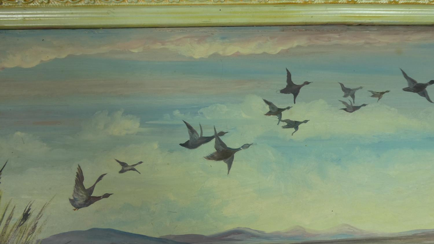 A Framed Oil on Glass Depicting Ducks in Flight, Signed J P Thomas, 1955, 33cm Wide - Image 2 of 3