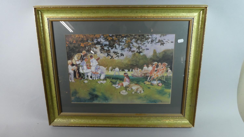 Lot 243 - A Framed Print Depicting Village Cricket Match, 48cm Wide