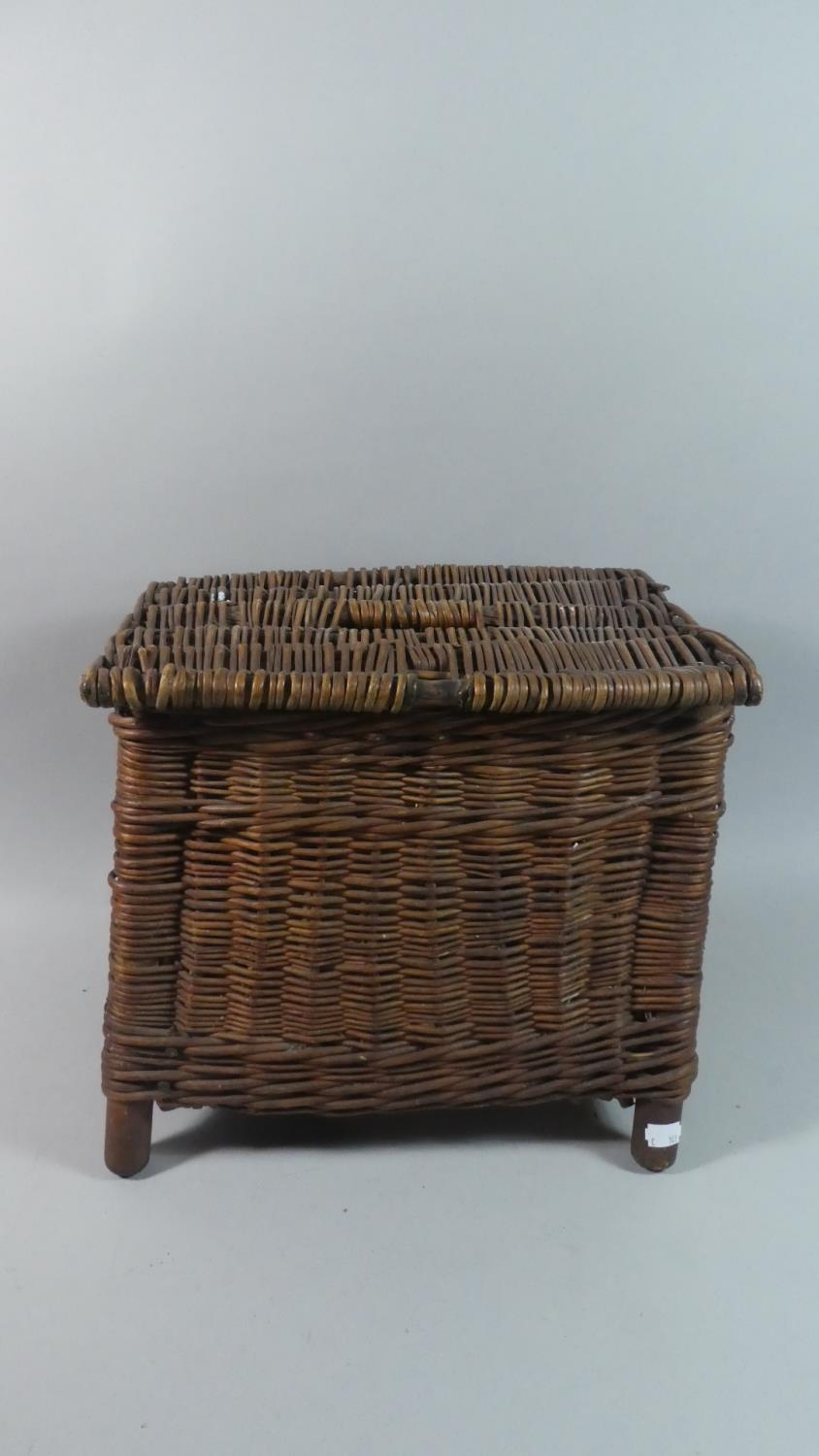 Lot 409 - A Vintage Wicker Fishing Creel, 38cm Long