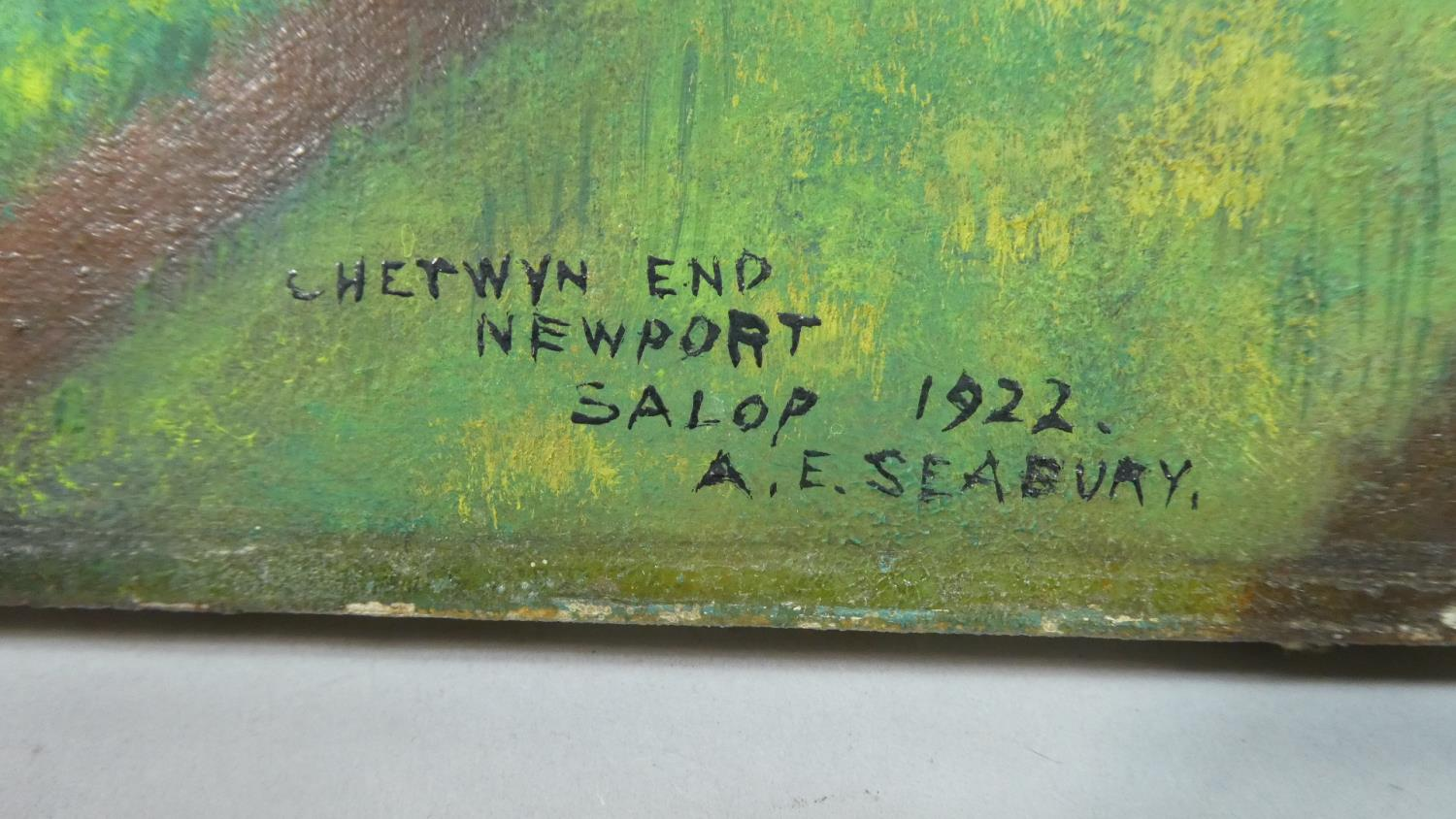 Lot 392 - A Mounted but Unframed Oil on Canvas, Chetwynd End Newport 1922 by Seabury, 61cm Wide