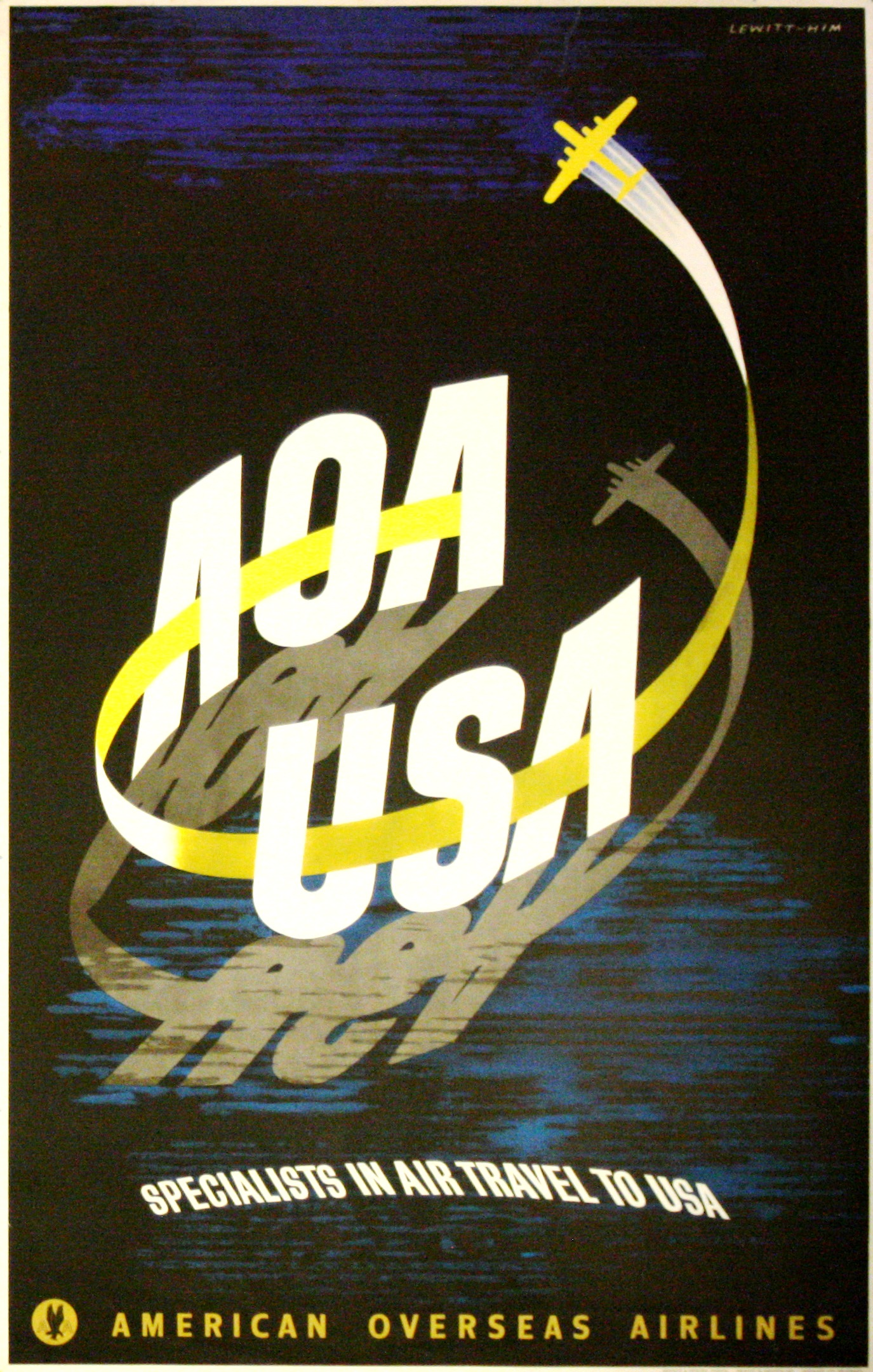 Lot 1409 - Advertising Poster American Overseas Airlines Midcentury