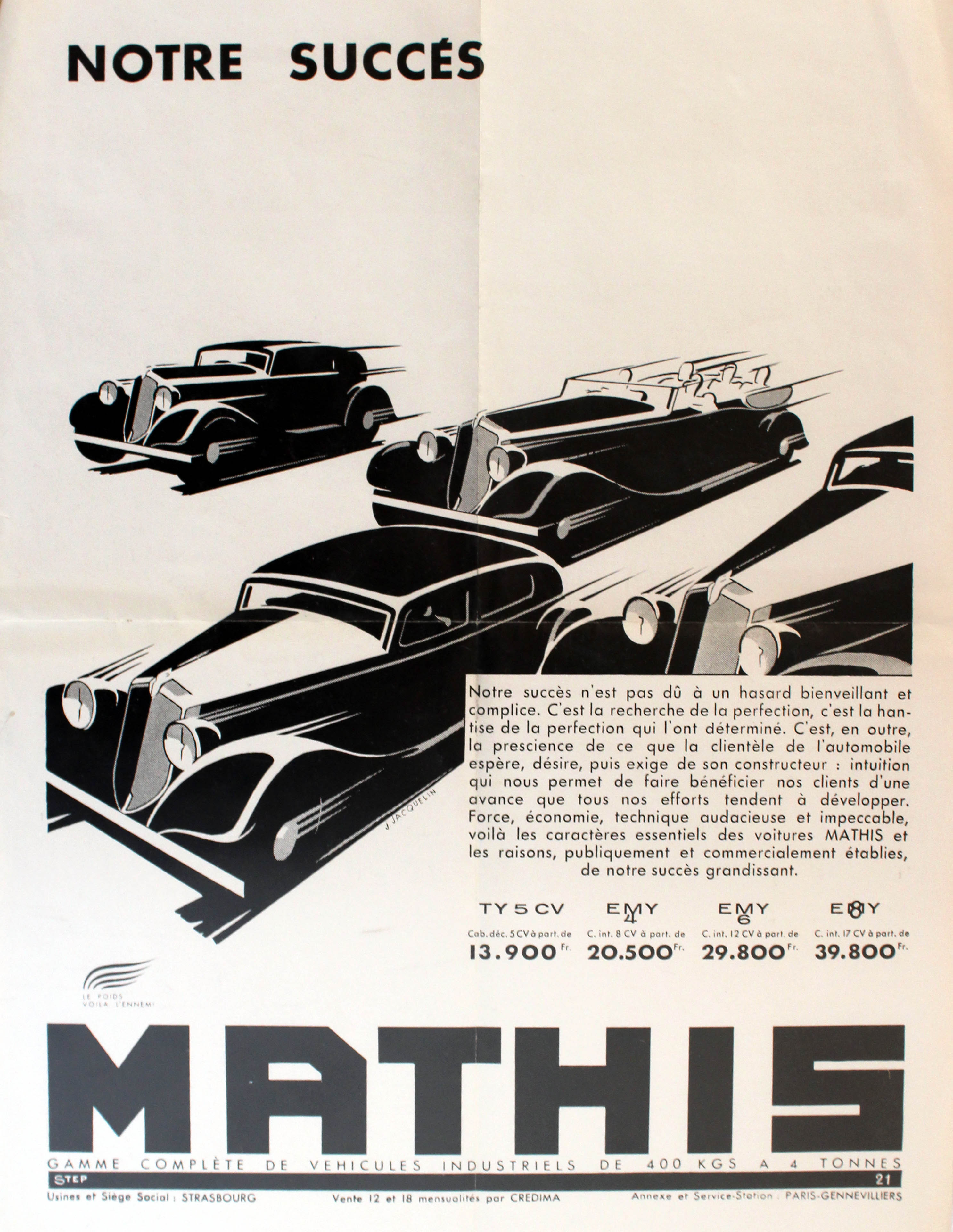Lot 1316 - Advertising Poster Mathis 4 Models Car Art Deco Convertible