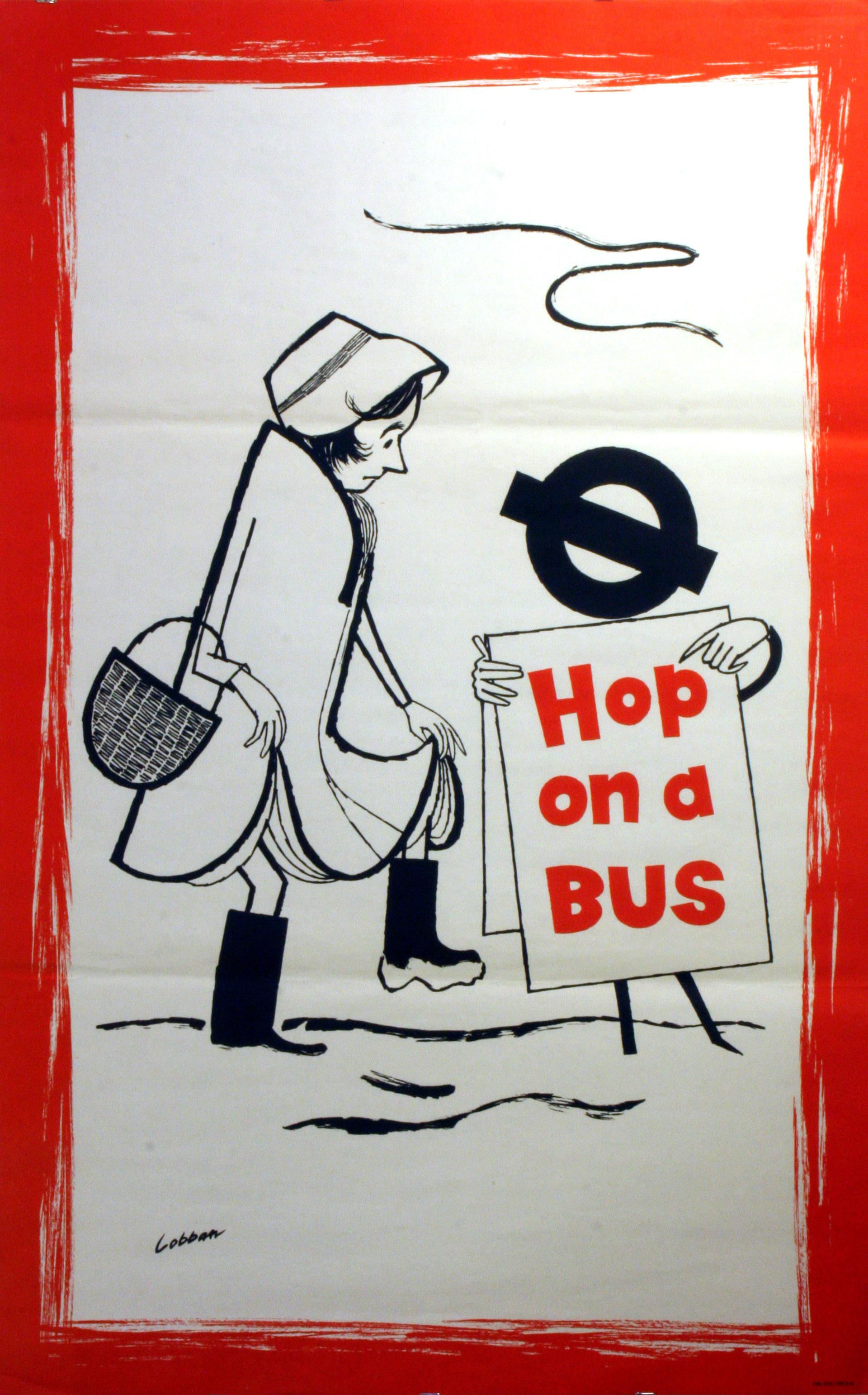 Lot 1507 - Original Vintage Advertising Poster LT London Transport: Hop on a Bus - snow