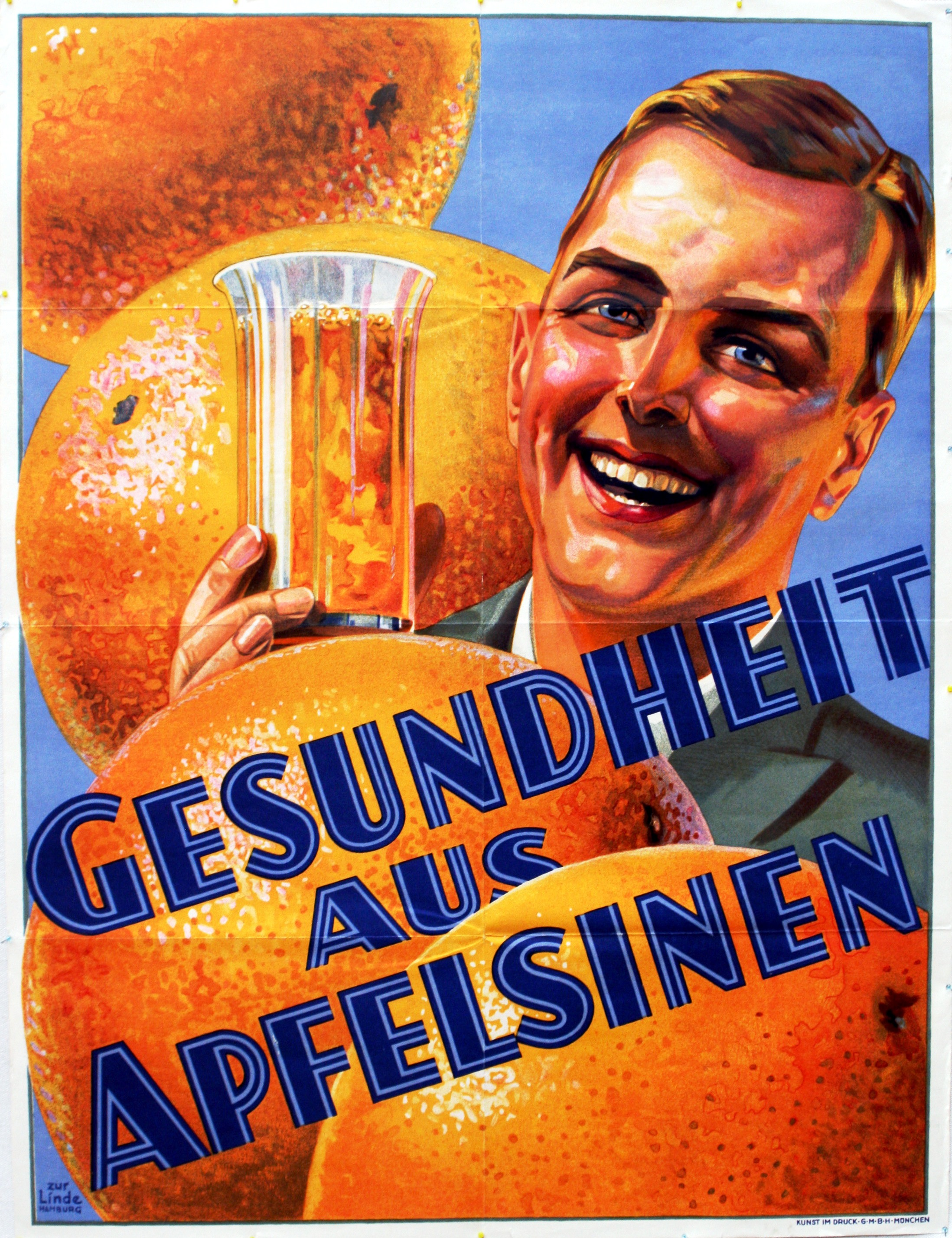 Lot 1312 - Advertising Poster Health with Oranges Germany