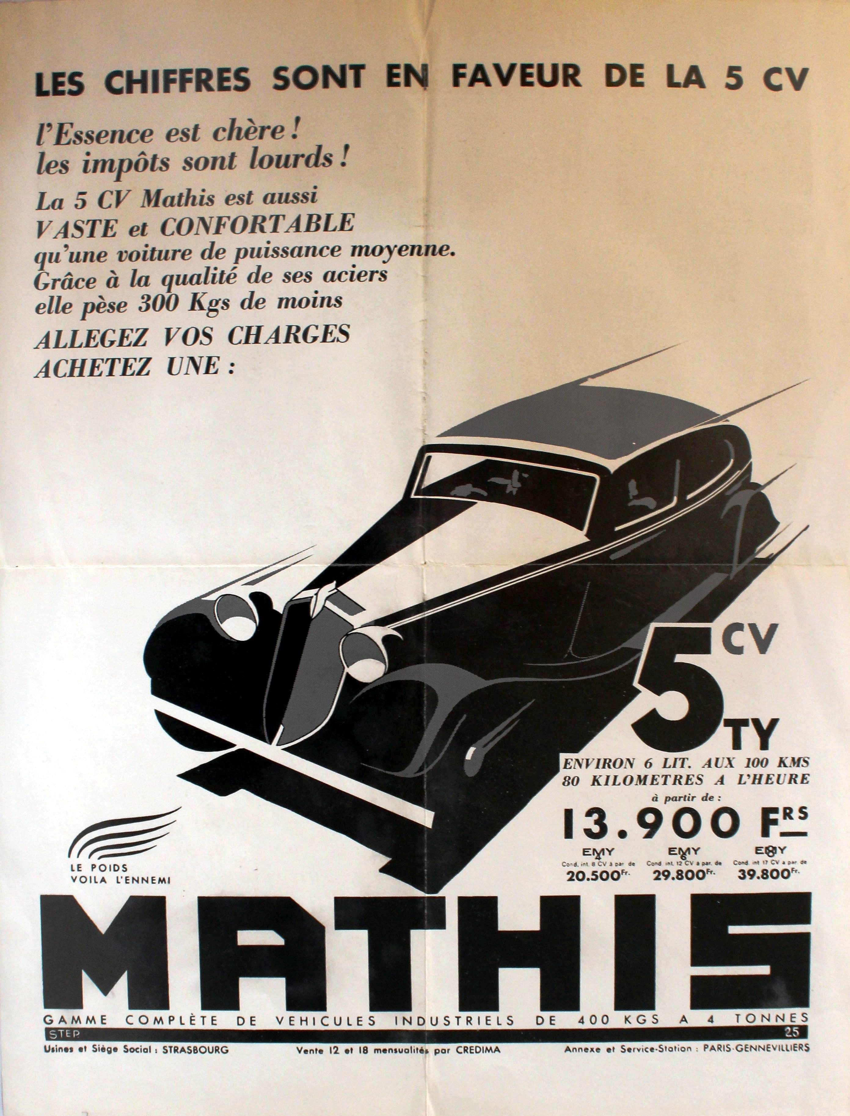 Lot 1314 - Advertising Poster Mathis 5CV Car Art Deco