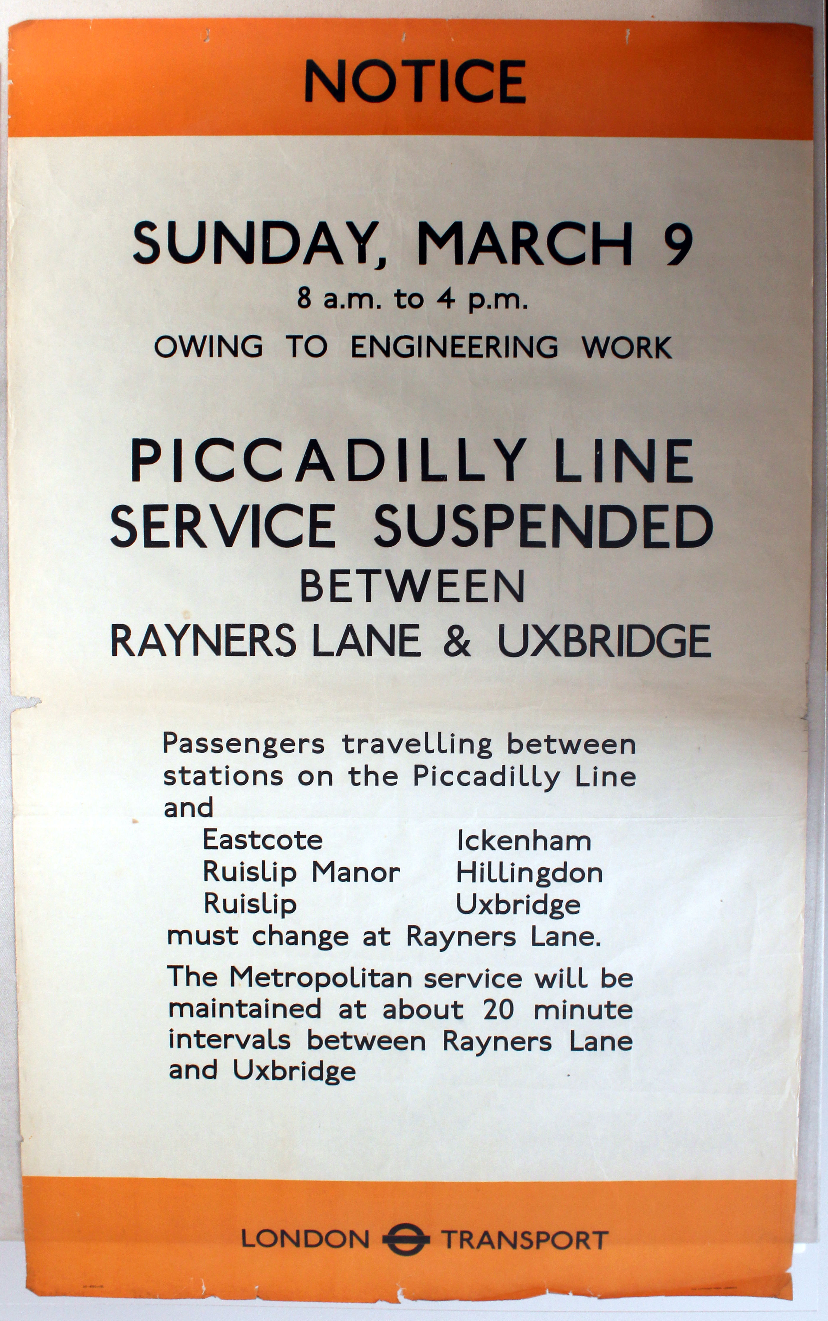 Lot 1405 - Original London Underground Poster Piccadilly Line WWII
