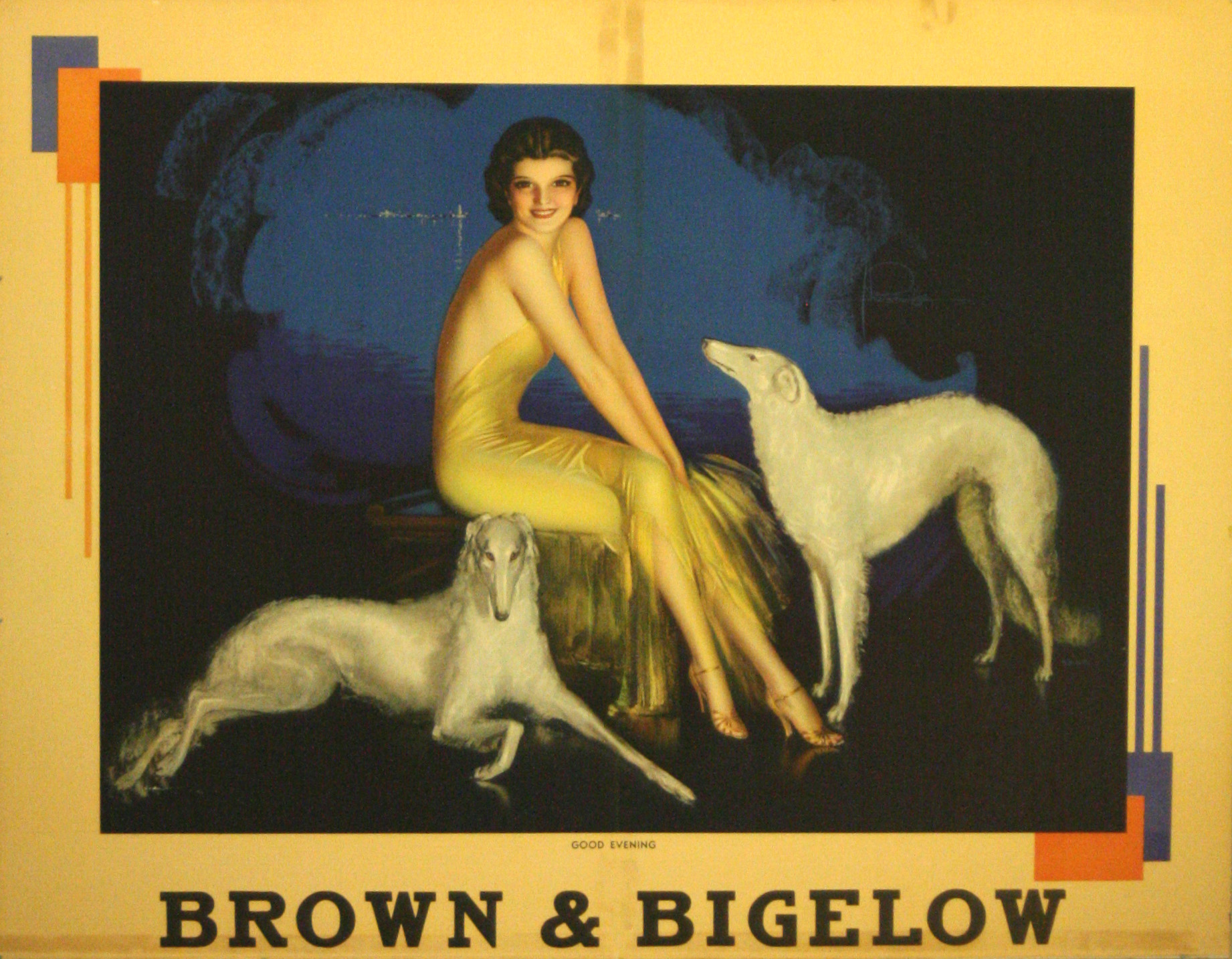 Lot 1310 - Original advertising poster Brown Bigelow Armstrong Art Deco Russian Borzoi Dogs