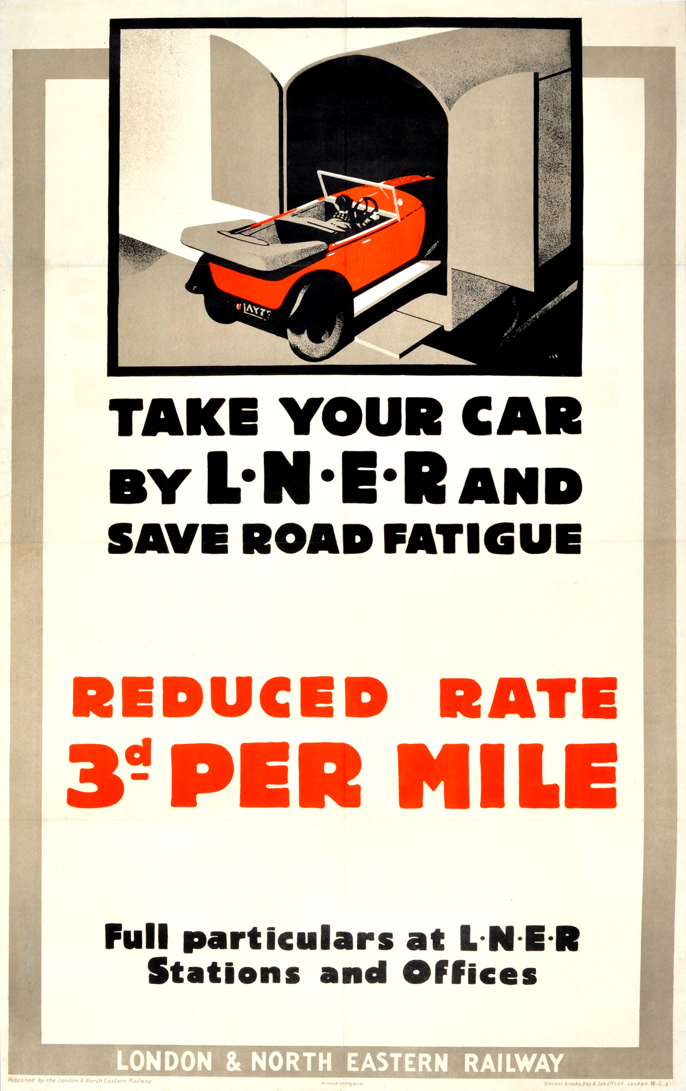 Lot 1320 - Advertising Poster LNER Railway Take Your Car by Train