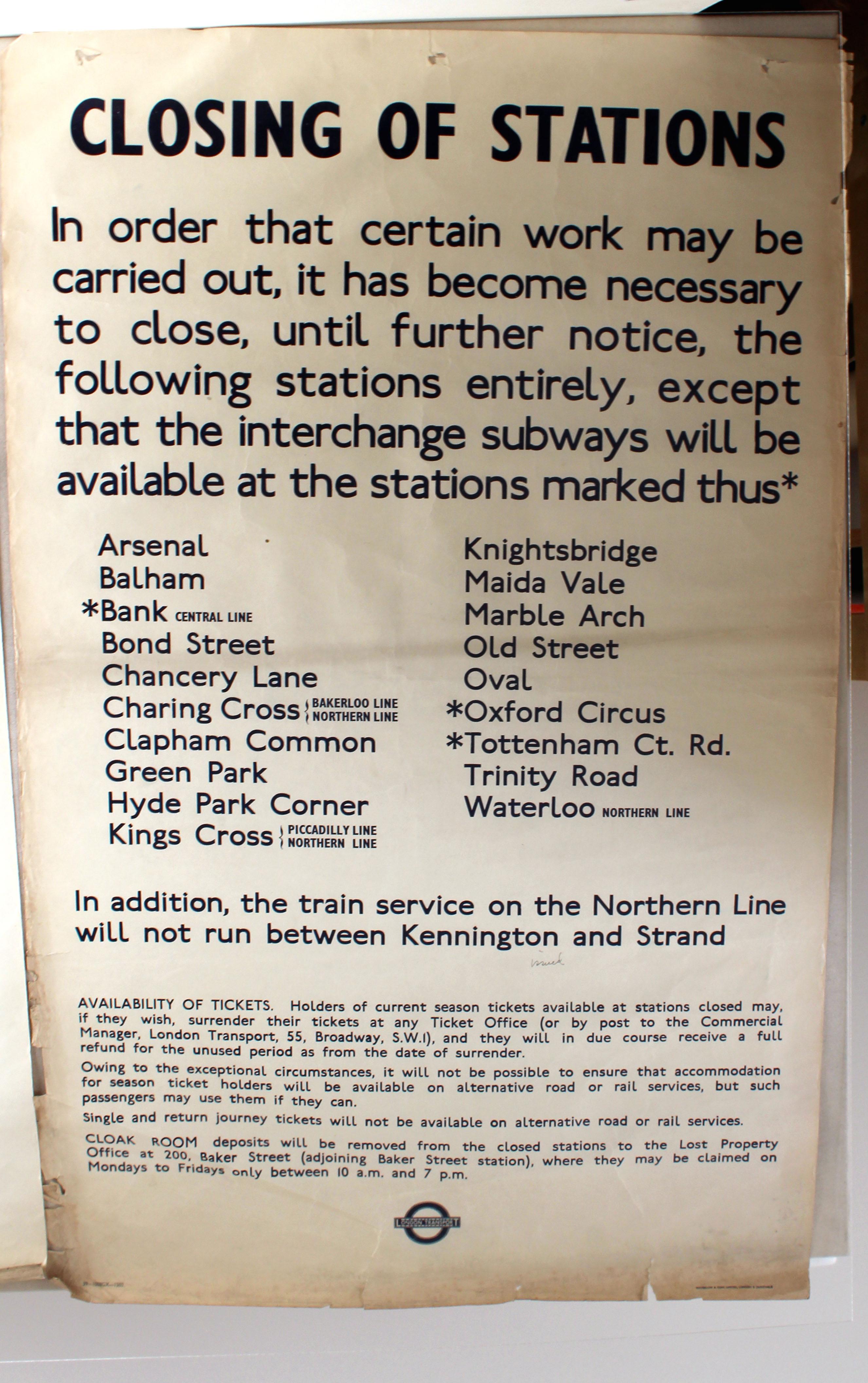 Lot 1407 - Original London Underground Poster Station Closure 1939