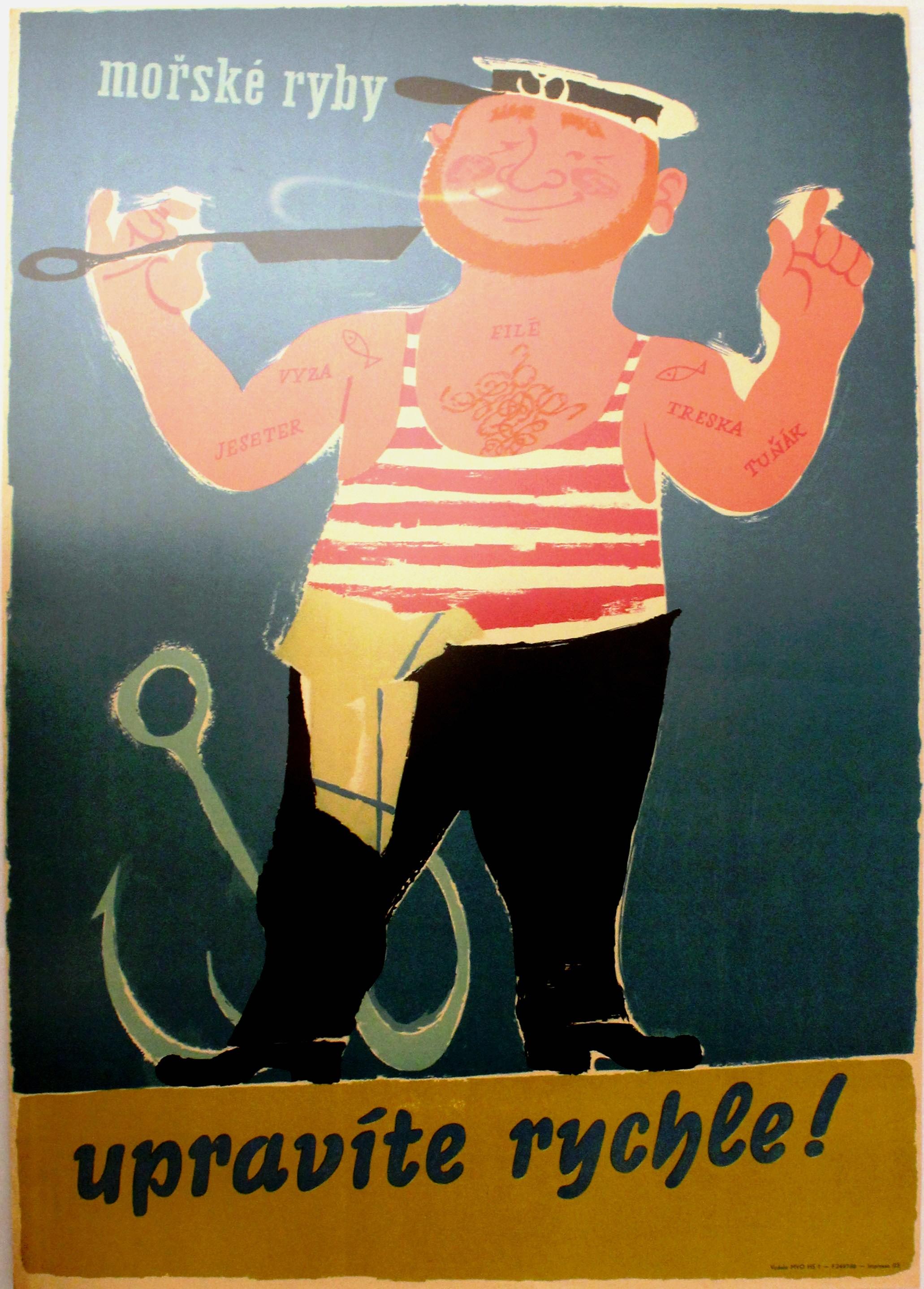 Lot 1515 - Advertising Poster Fish Chef Sailor Restaurant