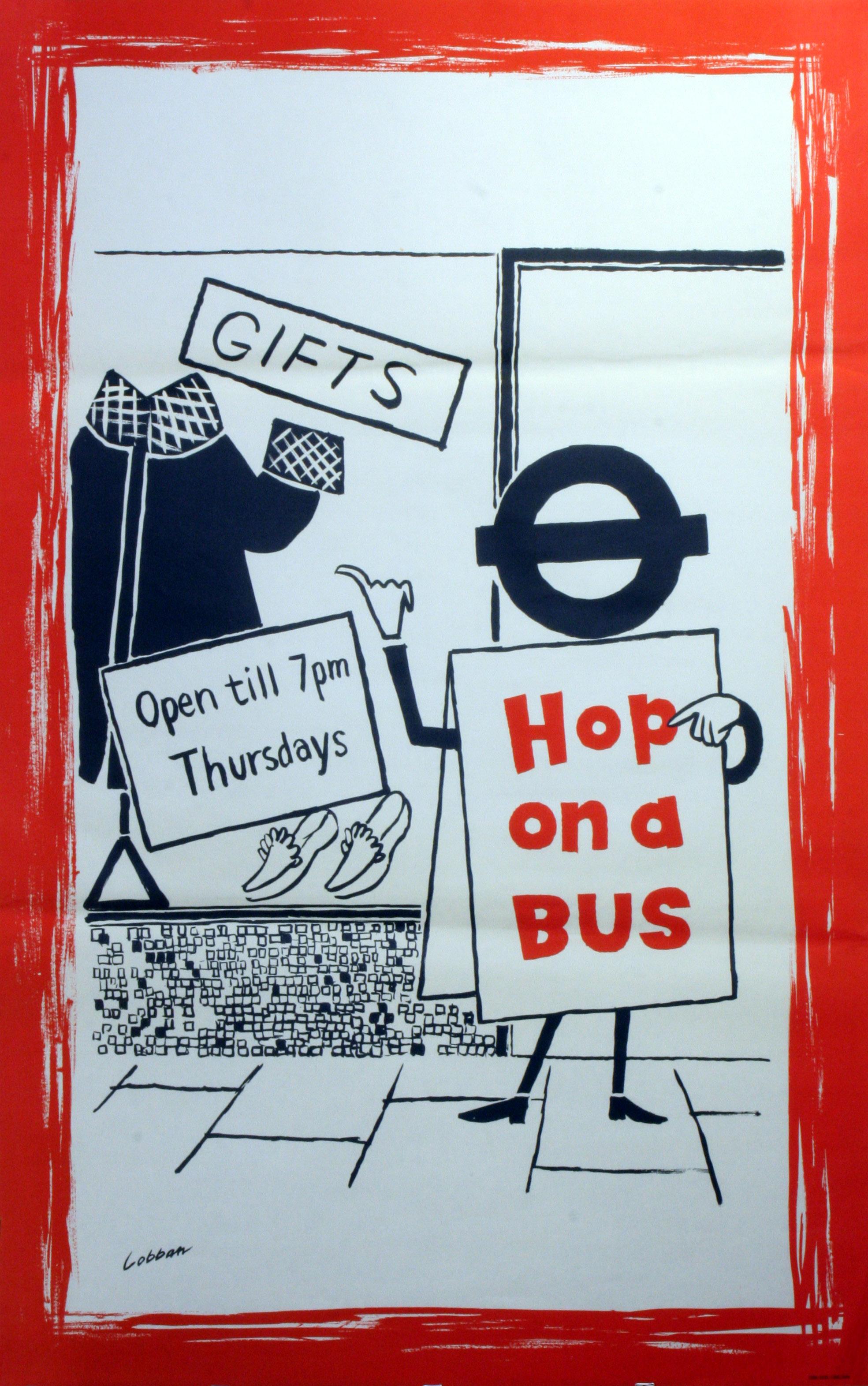 Lot 1506 - Original Vintage Poster LT London Transport: Hop on a Bus shop