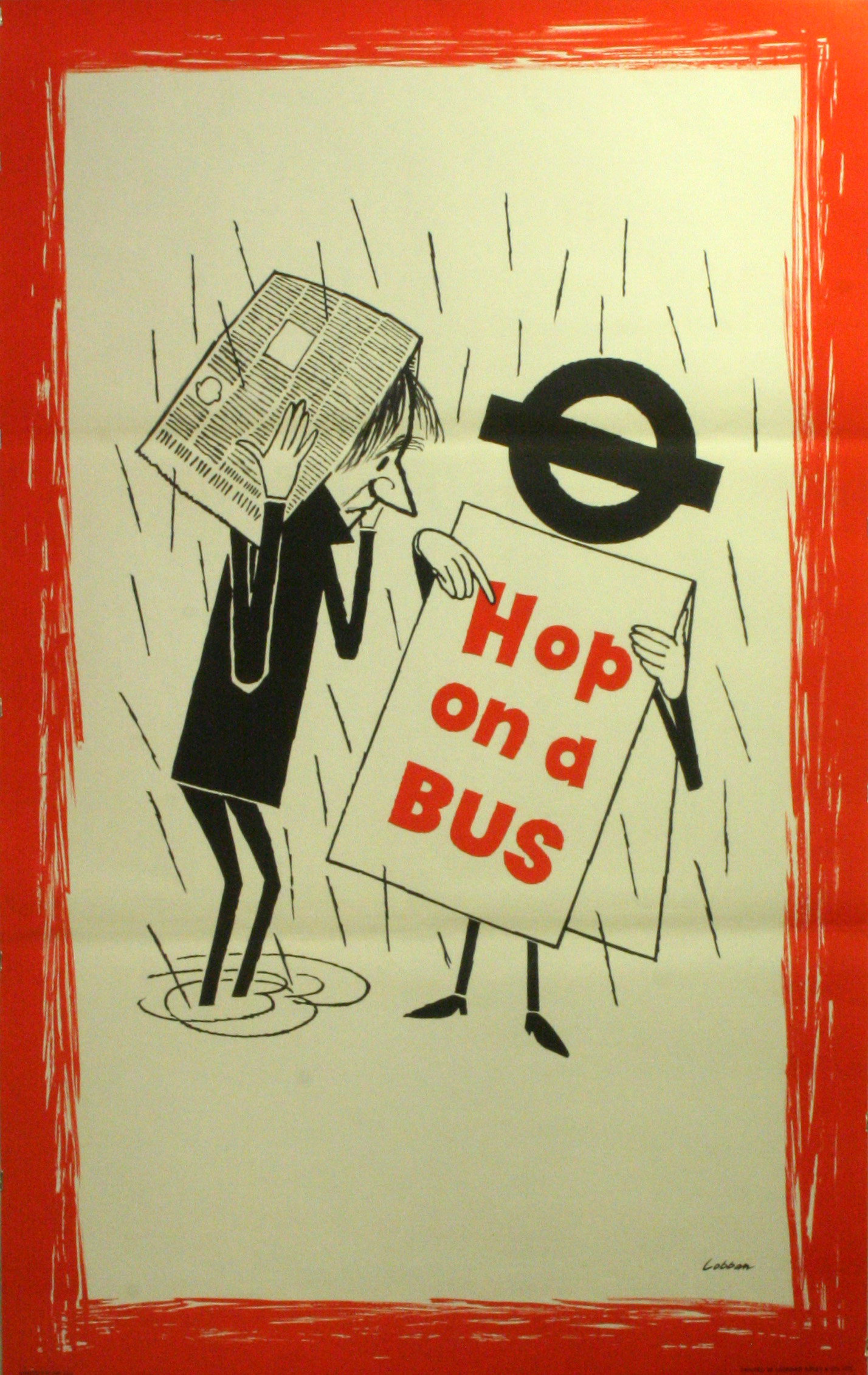Lot 1505 - Original Vintage Poster LT London Transport: Hop on a Bus - rain