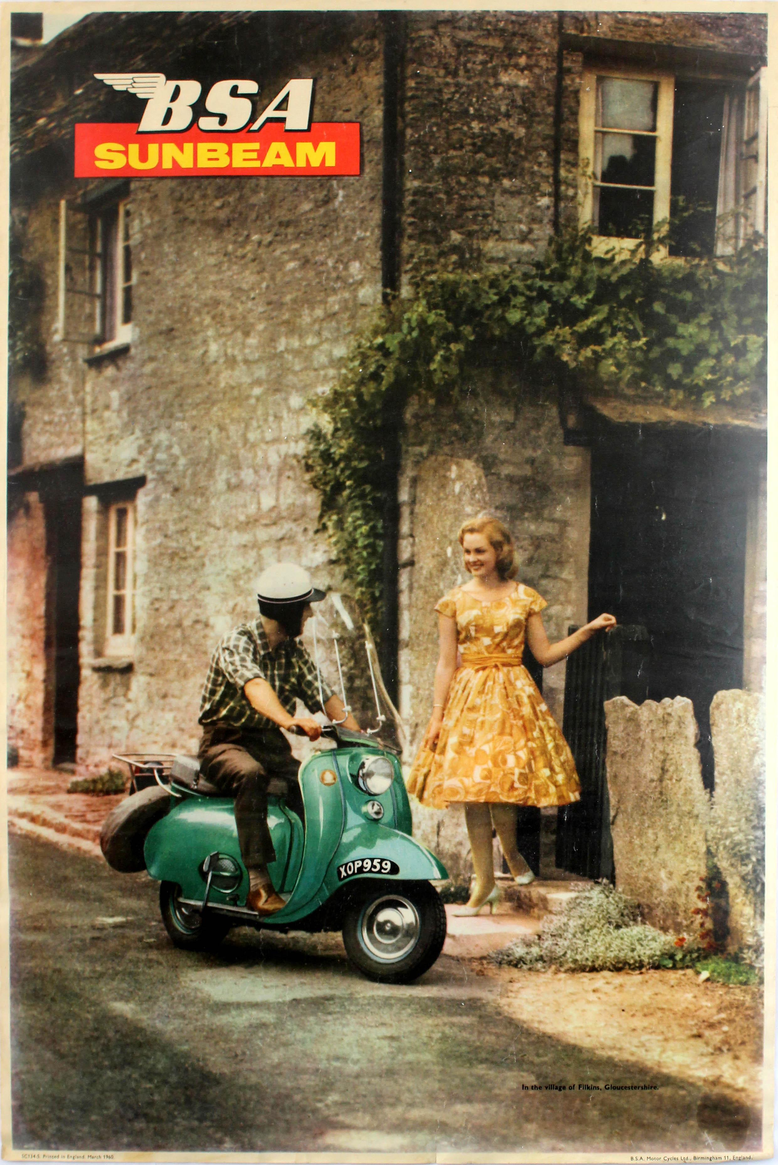 Lot 1514 - Advertising Poster BSA Sunbeam Scooter