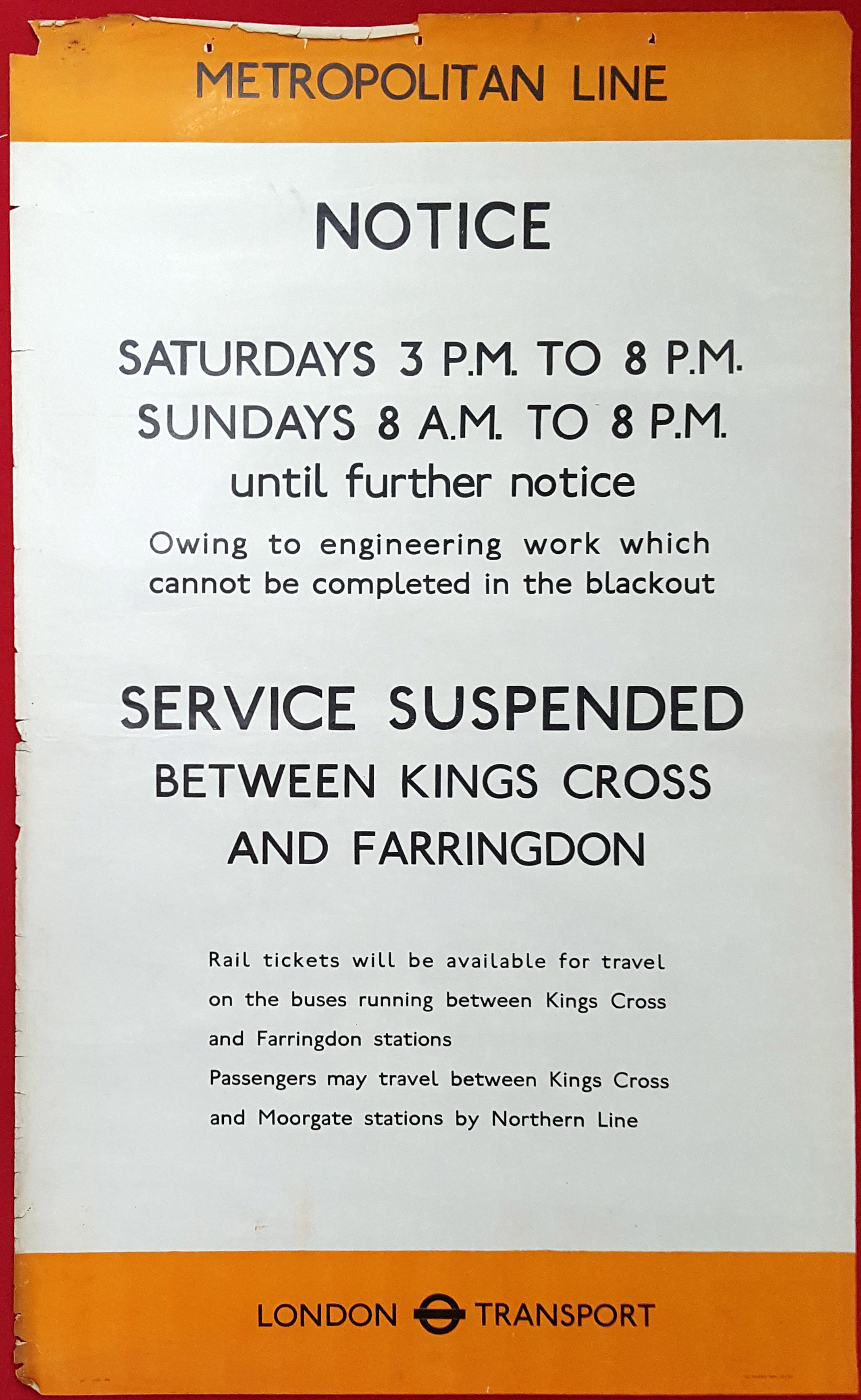 Lot 1403 - Original London Underground Poster Blackout WWII WW2