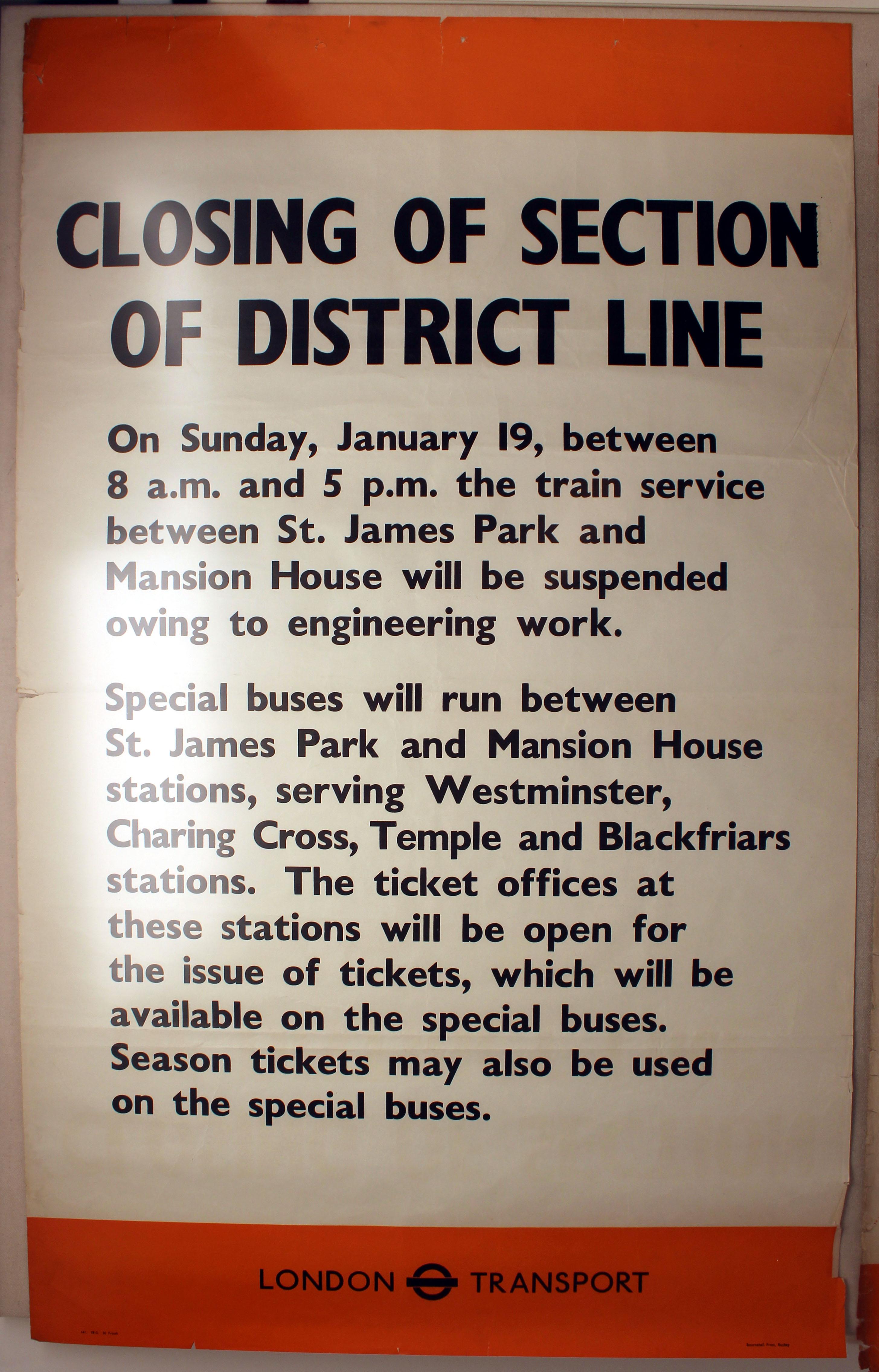 Lot 1402 - Original London Underground Poster District Line WWII